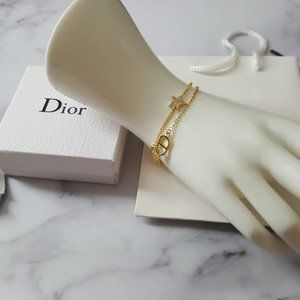 Dior CD Star Crystals Gold-tone Bracelet